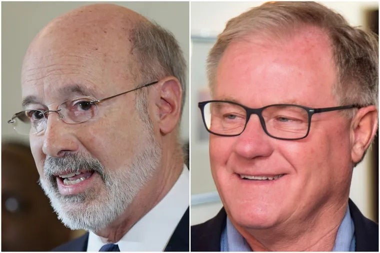 Democratic Gov. Wolf, left, is running for reelection against Republican Scott Wagner.