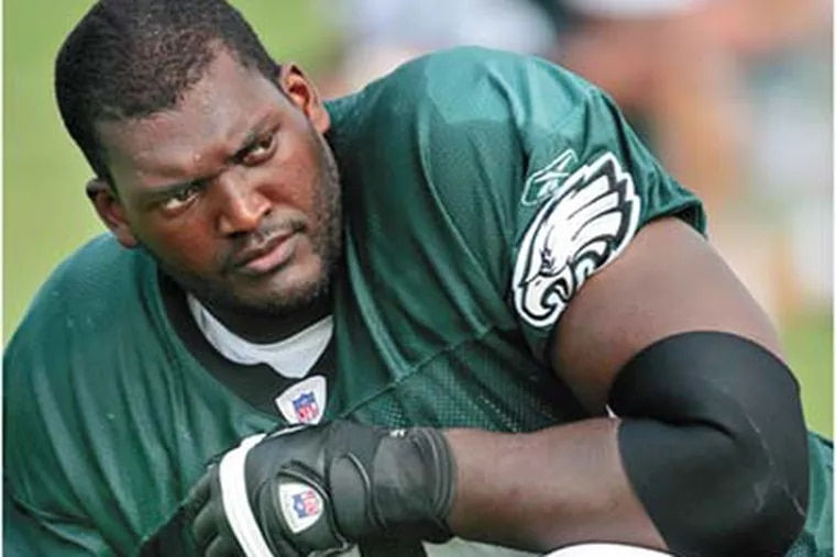 """""""Talk is nothing,"""" Winston Justice said of criticism aimed at him by former Eagle Hugh Douglas. """"The only thing I can do is prove it."""" (David Maialetti/Daily News)"""