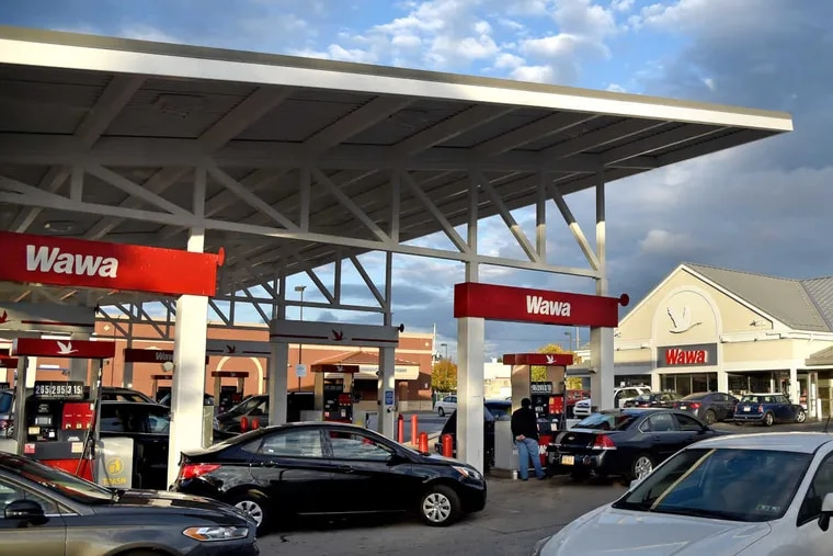 The super-sized Wawa convenience store/gas station combo at 2535 Aramingo Ave. Developer Bart Blatstein is seeking permission to build a similar-format Wawa on the site of a once-proposed Foxwoods casino on Columbus Boulevard where gas pumps are currently prohibited.