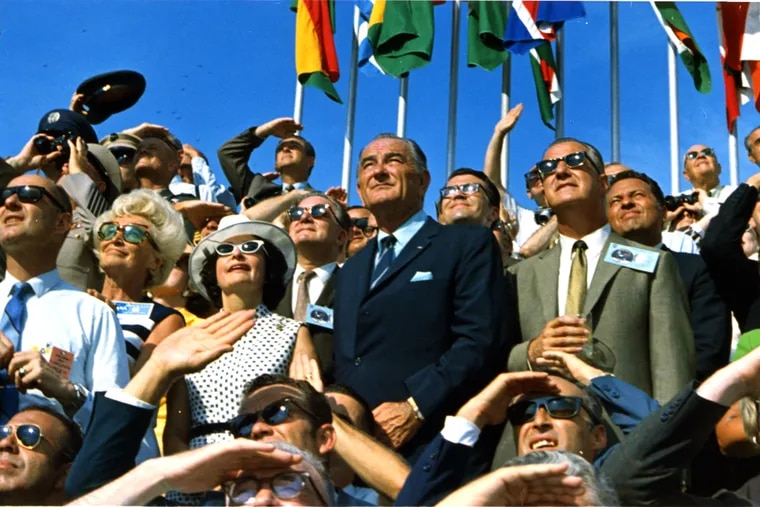 Former President Lyndon Johnson and then-Vice President Spiro Agnew watch the launch of Apollo 1 at Kennedy Space Center on July 16, 1969, just a few years after Medicare and Medicaid were enacted. BBC America/72 Films/NASA 1969