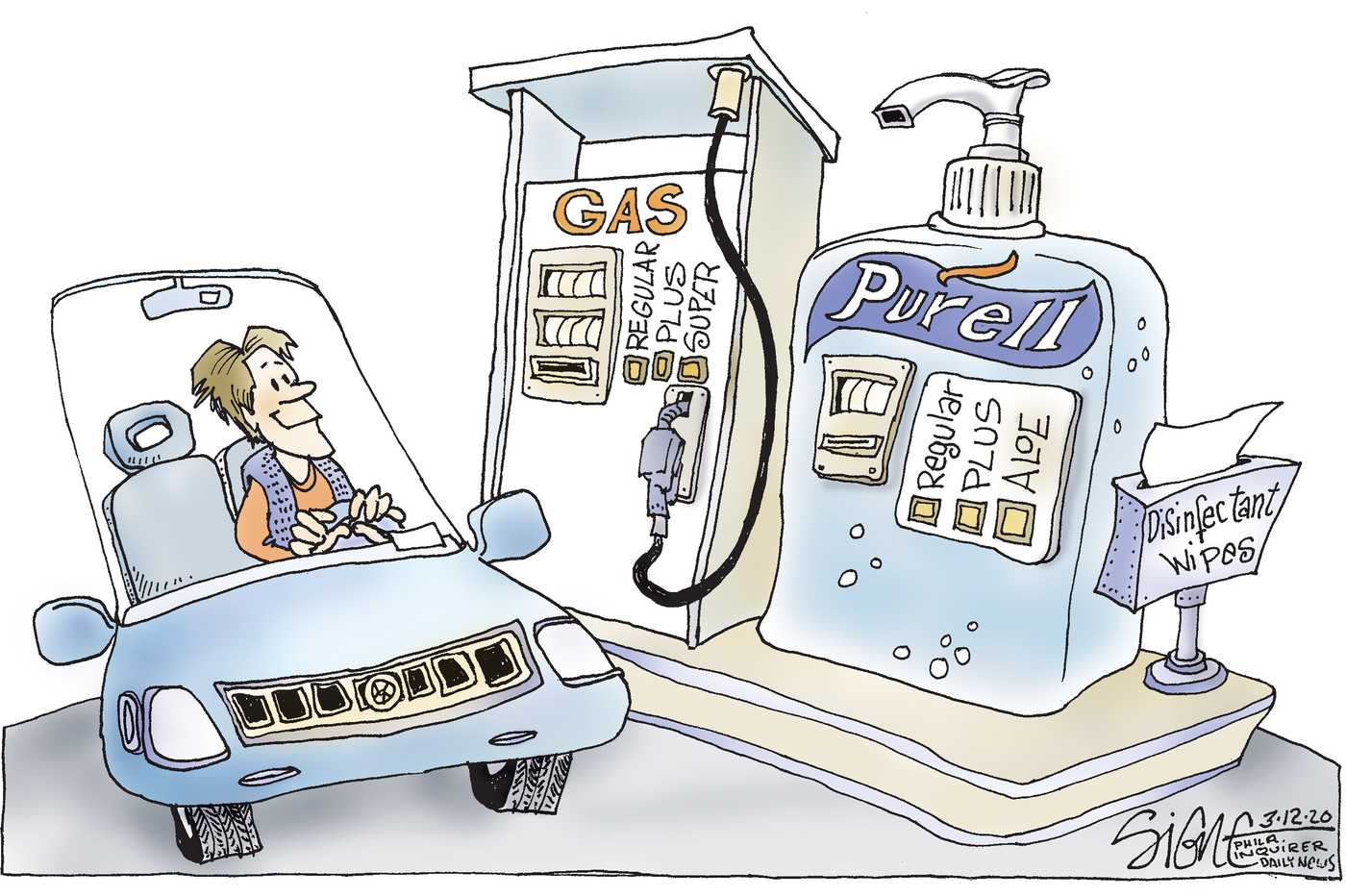 Political Cartoon: Dispensing Purell at the pumps