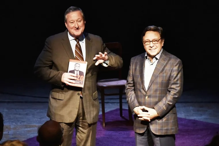 """As a candidate for mayor in 2015, Jim Kenney (left) was happy to attend the opening of the play """"Rizzo,"""" along with former Councilman Frank DiCicco."""