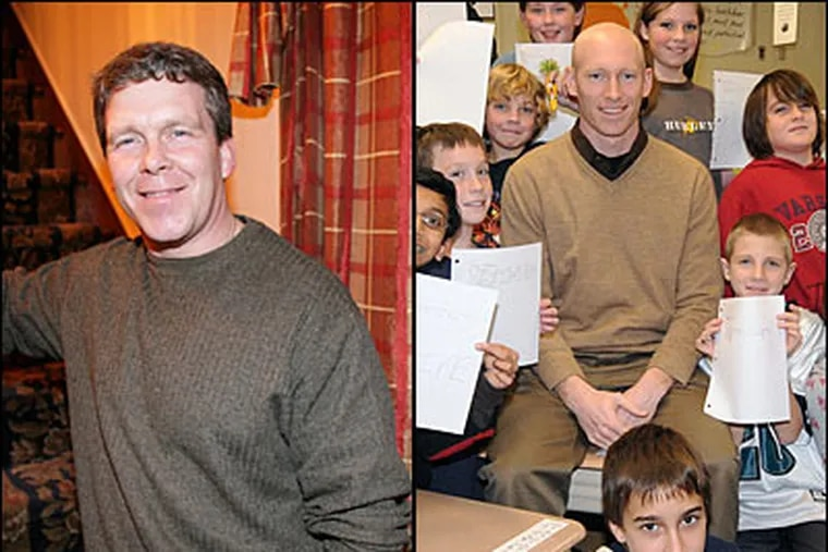 Michael Olshefski at his home in Oaklyn, N.J. In photo at right, Matt Kraybill with 6th-graders at an Absecon school. (Yong Kim/Staff Photographer; Gail Crafton / For the Daily News)