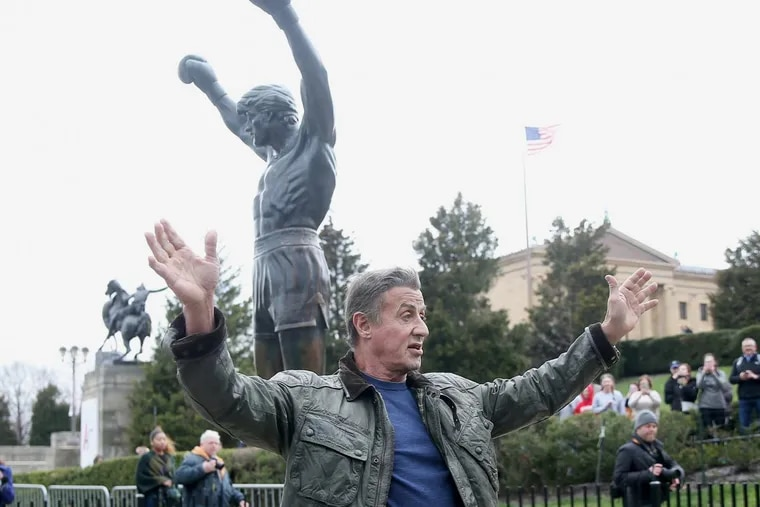 Sylvester Stallone, Eagles fan, holds Lombardi Trophy at Lincoln ...