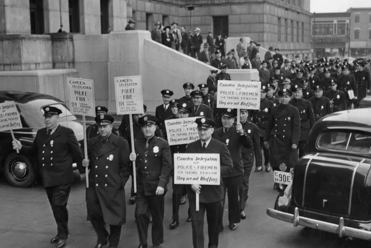 In 1944, police leaving City Hall in a pension protest. The department's end is stirring memories.