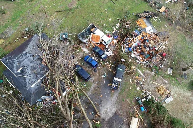 Storm damage in Laurel, Del., on Monday, April 15, 2019.