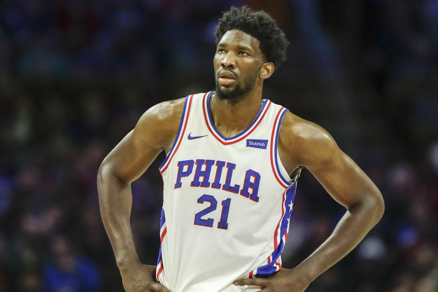 Is something wrong with Joel Embiid's left wrist?