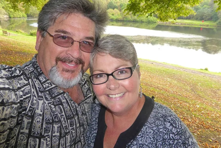 Matthew J. Hartigan and his wife, Amy, near their home in Clearwater, Fla. For years he staved off debt collectors, but those successes would never stick.