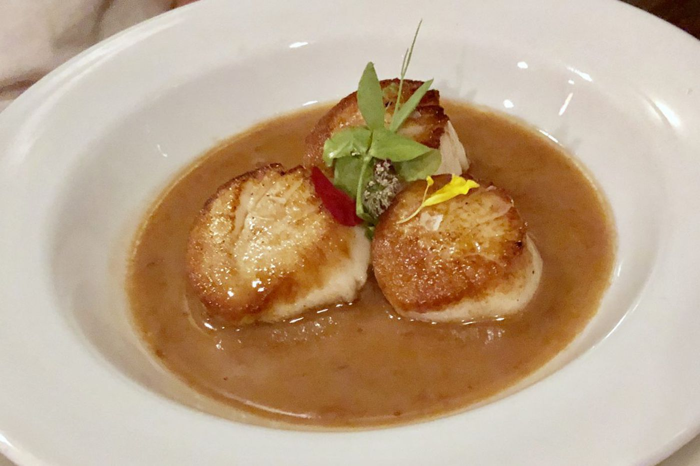A beer cuisine scallop classic at Monk's Cafe