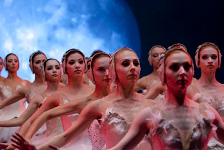 """In a """"Black Swan"""" scene, actress Natalie Portman (third from the front) is in line with the eager Pennsylvania Ballet dancers. (Source: Fox Pictures)"""