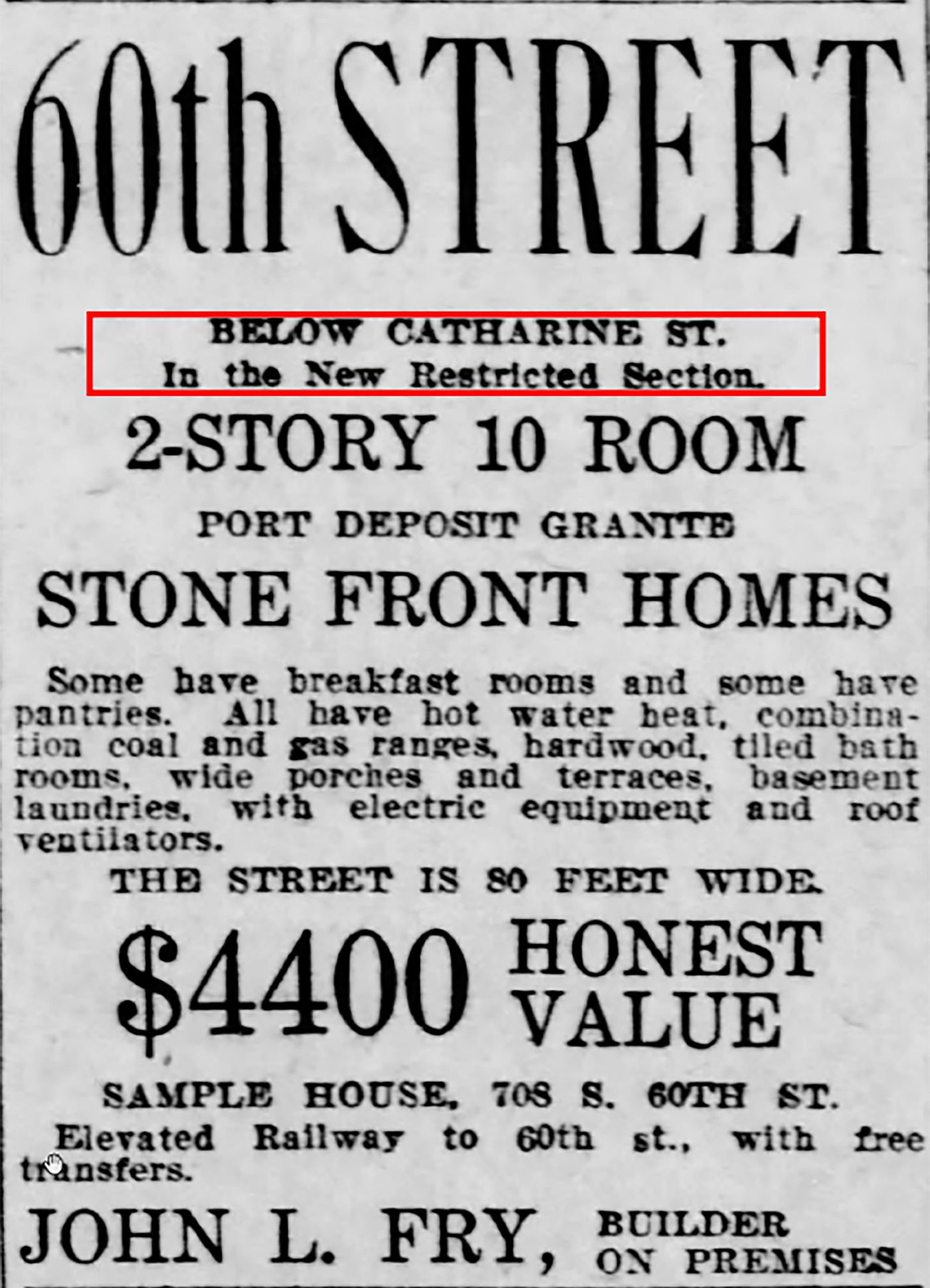 A 1911 ad from the Philadelphia Inquirer promoting homes available only to white buyers.