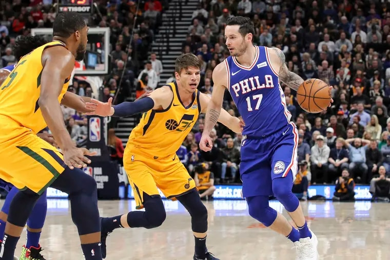 JJ Redick scored a game-high 24 points on 8-for-12 shooting (6-for-9 from three-point range) in the Sixers win over Utah Thursday night. (Chris Nicoll / AP Photo)