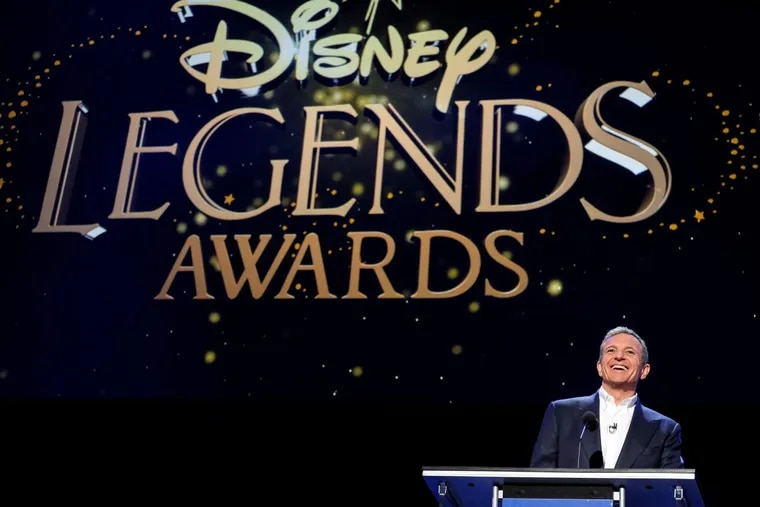Bob Iger, Walt Disney chairman and CEO, speaks during the Disney Legends Awards at the D23 Expo fan convention at the convention center in Anaheim, Calif. Walt Disney Co. has extended Iger's contract through December 2021.