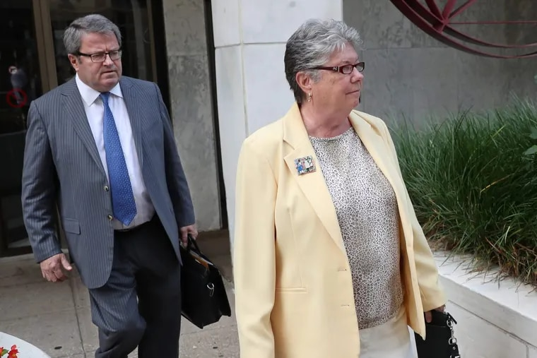 Former PA Treasurer Barbara Hafer, right, was sentenced Tuesday to probation for lying to the FBI in a pay-to-play investigation. MICHAEL BRYANT / Staff Photographer