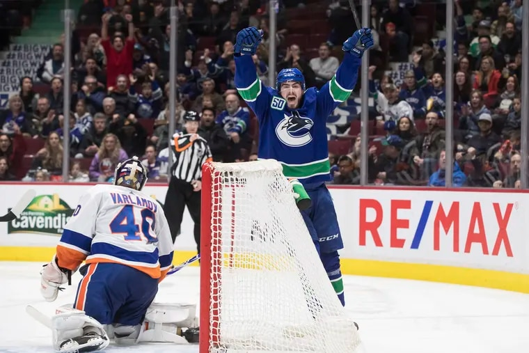 Vancouver Canucks forward Zack MacEwen celebrates his goal against the New York Islanders on March 10, 2020.