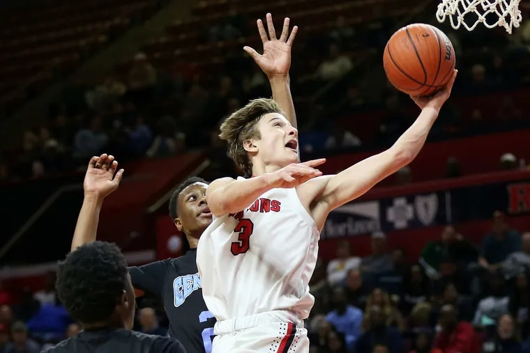 Haddonfield's Mike DePersia (3) scored 20-plus points in back-to-back victories in state finals vs. teams from Newark at Rutgers.