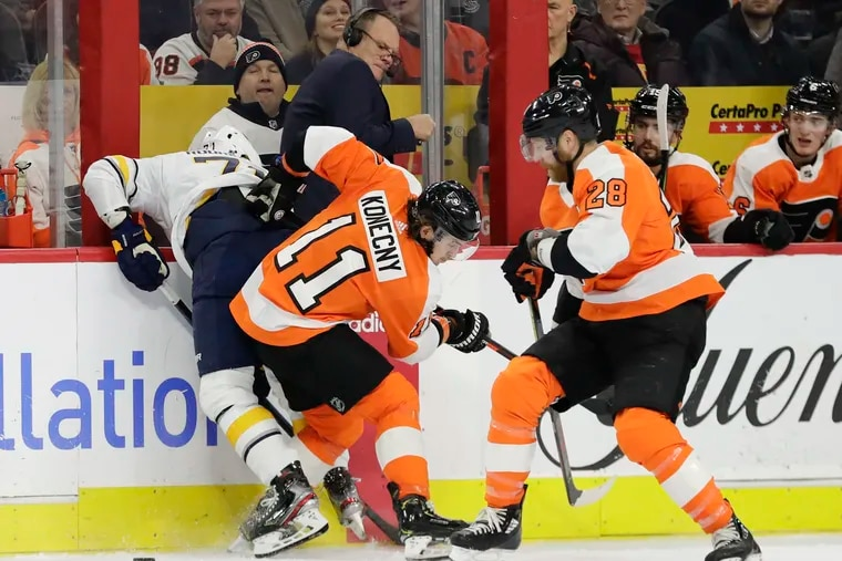 Right winger Travis Konecny,  checking Buffalo's Evan Rodrigues, was the lone Flyer named to the All-Star team.
