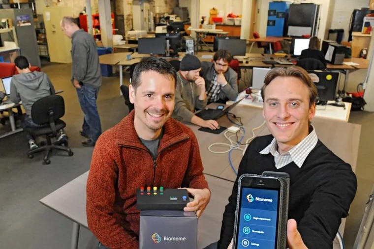 """Max Perelman and Jesse vanWestrienen are founders of Biomeme, one of the startups that polished its game at NextFab, Evan Malone's for-profit """"Maker space"""" with locations in South Philly, Northern Liberties ,and Wilmington."""
