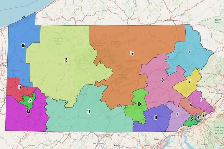 The new congressional map released Monday by the Pennsylvania Supreme Court.