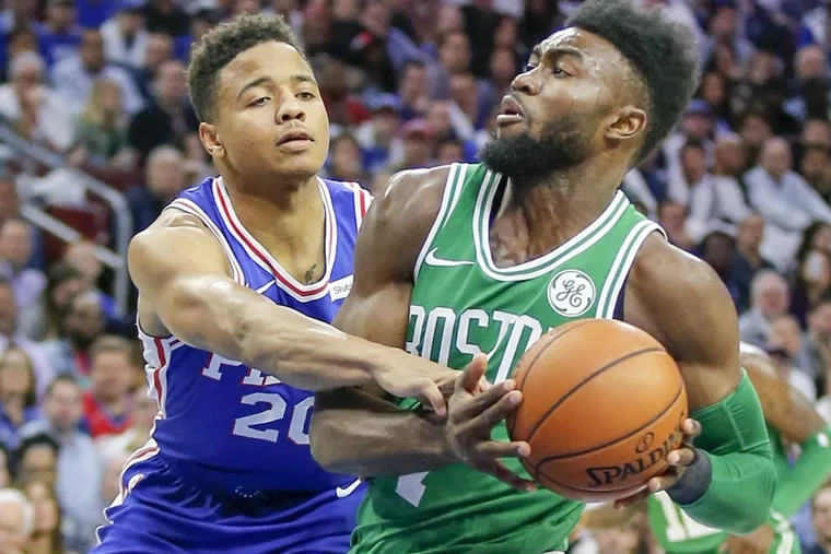 Sixers guard Markelle Fultz fouls Boston Celtics forward Jaylen Brown in October.
