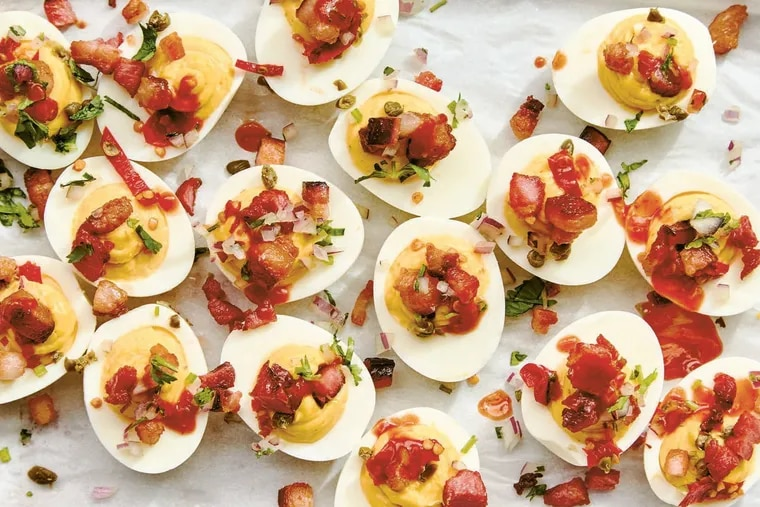 In 'Amá: A Modern Tex-Mex Kitchen,' deviled eggs are stuffed yolks mashed with mayo, mustard, cilantro, oil-packed Calabrian chiles, and capers.