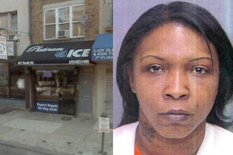 Police say Sheakia Stubbs, 31, right, and John Benson, 47, are accused of robbing this South Street jewelry store this weekend, then leaving behind their 4-year-old son in their bid to escape. (Philadelphia Police; Google Maps)