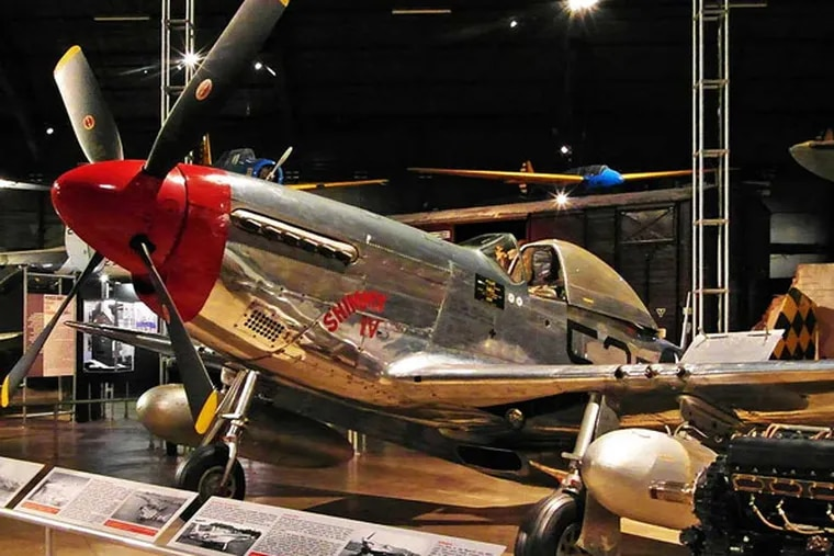 USAF P-51 Mustang at the National Museum of the United States Air Force. The museum at Wright-Patterson Air Force Base in Dayton, Ohio, features 17 acres of hangars housing more than 360 aerospace vehicles,  from airplanes made with spit-and-paper to the latest stealth technology. Part of the Dayton Aviation Trail. Credit: Michael Milne