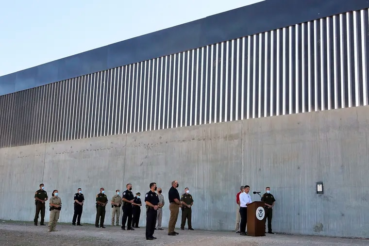 Acting Homeland Secretary Chad Wolf spoke about immigration and security in front of a new section of the Trump administration's border wall on Oct. 29, 2020, in McAllen, Texas.