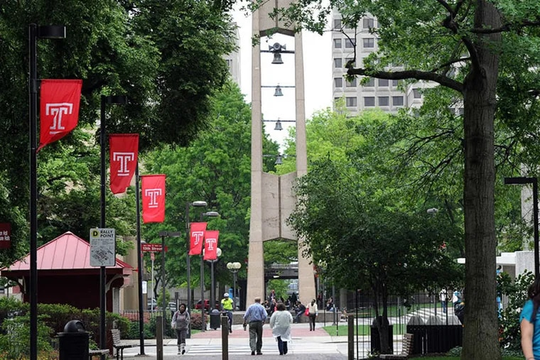 Campus view of Temple University with the well-known bell tower in the background.