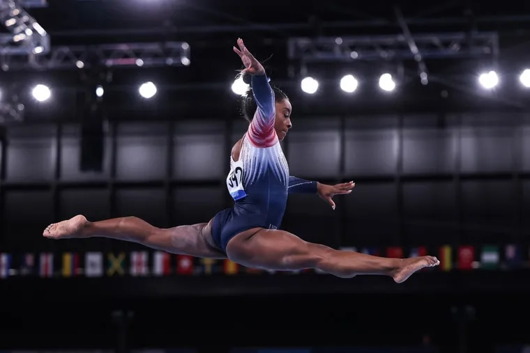 Gymnast Simone Biles performs in the women's balance beam at the Tokyo Olympics last week.