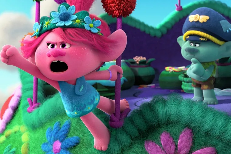 """Poppy, voiced by Anna Kendrick, left, and and Branch, voiced by Justin Timberlake in a scene from the animated film """"Trolls World Tour."""" Universal Pictures on Monday said it will make its current and upcoming films available for on-demand rental, becoming the first major studio to turn directly to home viewing in light of the virus."""