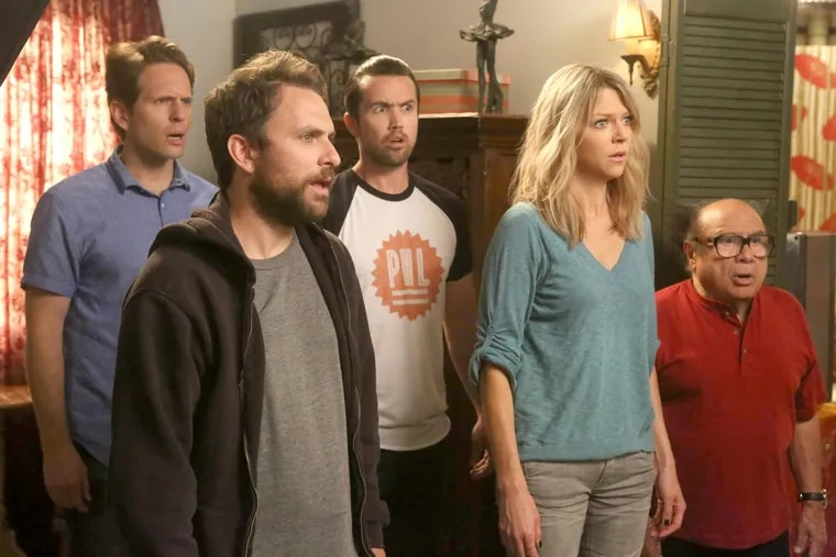 (L to R) Glenn Howerton as Dennis, Charlie Day as Charlie, Rob McElhenney as Mac, Kaitlin Olson as Dee, and Danny DeVito as Frank in 'It's Always Sunny in Philadelphia.'
