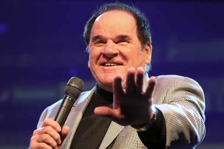 Pete Rose sits on stage Sunday, March 30, 2014, and tells baseball stories at Christ's Church of the Valley as part of the church's program on second chances. Rose, banned from Major League Baseball for gambling, appeared at the Royersford church to talk about how everyone deserves a second chance. (MICHAEL BRYANT/Staff Photographer)