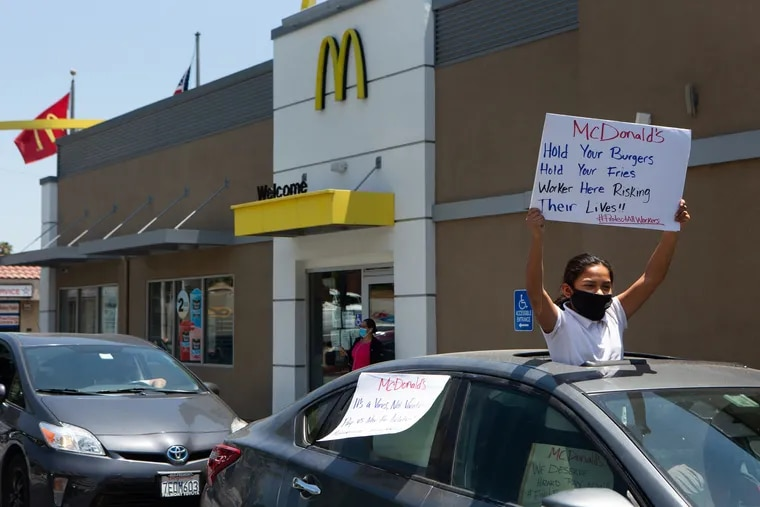 A protest in support of McDonald's workers at a drive-thru in Monterey Park, Calif., last year.