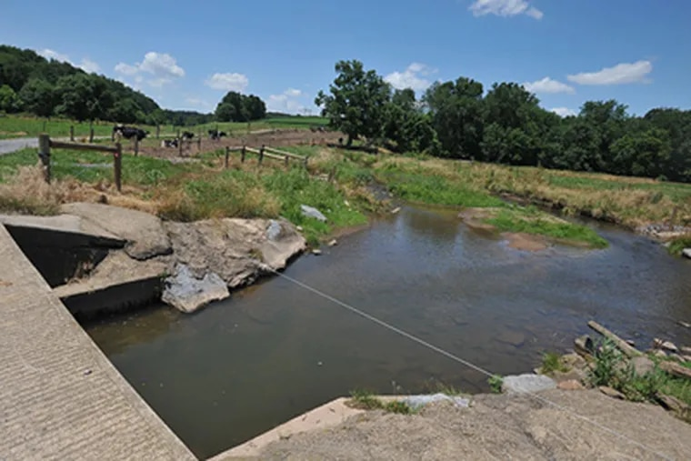 At Robert Fox's farm, right outside of Lititz, Pa. stabilized crossings and electrical fences are used to keep cows from roaming into and polluting the waterways.  (Sharon Gekoski-Kimmel / Staff Photographer)