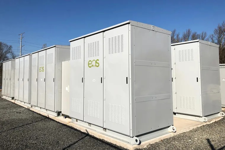 An Eos Energy Systems battery storage unit. Eos is part of a joint venture with Holtec International, called HI-POWER, that will produce the battery systems at Holtec's Pittsburgh manufacturing plant.