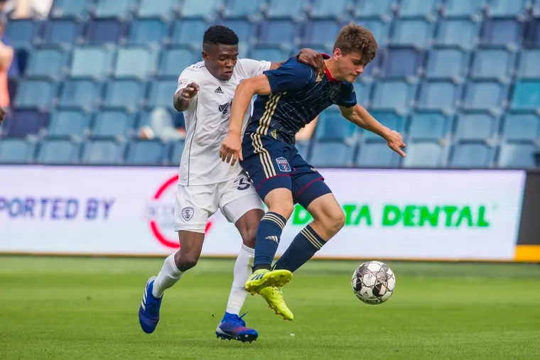 Philadelphia Union academy product Cole Turner (right) in action for Bethlehem Steel earlier this year.