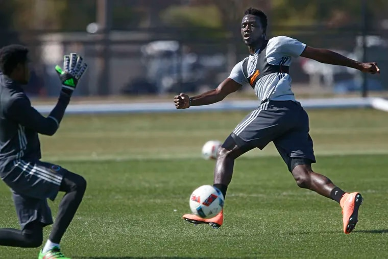 Union forward C.J. Sapong shoots on goalie Andre Blake during an intrasquad scrimmage earlier this week. Sapong had a team-high nine goals last season.