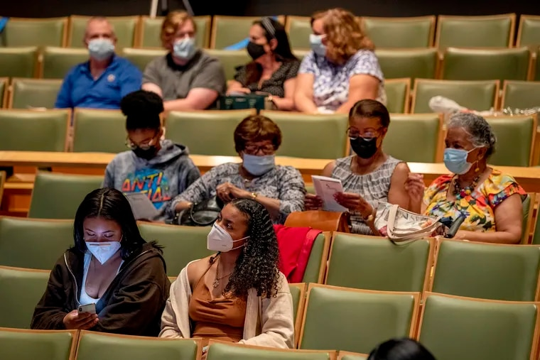 The audience in the Perelman Theater at the Kimmel Center wearing masks on July 22 as they wait for start of the Center's ShowStoppers musical theater summer camp's live performance of Seussical Jr. for participants' family & friends.
