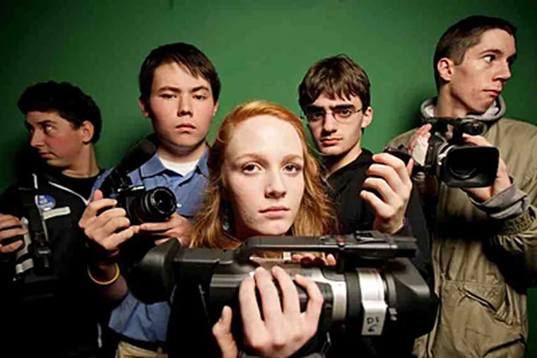 Shoreline, Wash., high schoolers (from left) Jesse Hoefer, Nicholi Wytovicz, Mara Harris, Samuel Chudler, and Corey Smith videodocumented the digital-blackout project with confessional interviews among students and staff. (Erika Schultz/Seattle Times)