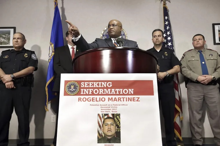 Emmerson Buie Jr. , FBI special agent in charge of the El Paso field office, announces a $25,000 reward for any information leading to arrests in the death of Border Patrol Agent Rogelio Martinez and injury of an unidentified agent out of the Big Bend Sector of Texas. The news conference was held at the FBI offices in El Paso, Texas, on Tuesday, Nov. 21, 2017.