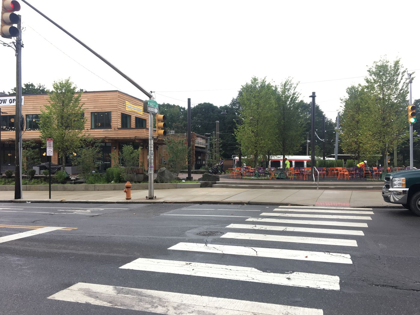 A view of the Trolley Portal Gardens from Baltimore Avenue.