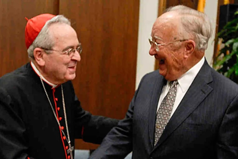 Cardinal Justin Rigali tabbed retired DuPont executive John Quindlen to head a panel on Catholic schools. (Ron Tarver/Staff)
