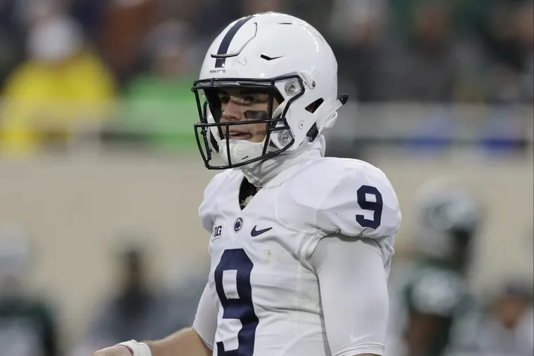 Penn State quarterback Trace McSorley looks toward the bench during the first half of the team's loss to Michigan State.