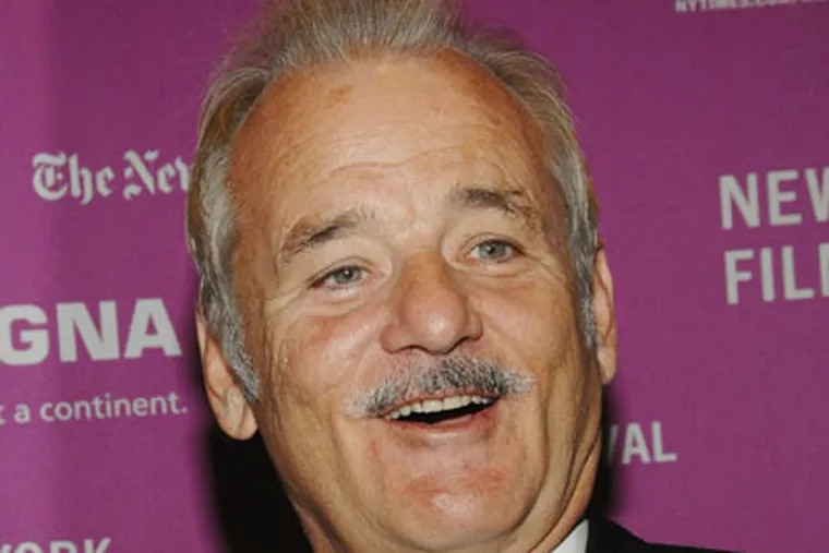 Comedian Bill Murray spent the weekend in Philly watching the playoff series between the 76ers and the Chicago Bulls. (AP Photo)