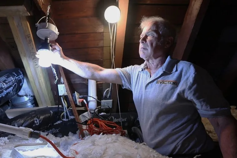 Bill Earl adjusts one of two strobe lights that deter squirrels in the attic in the home of Julie Cottage in West Chester Thursday May 10, 2018.