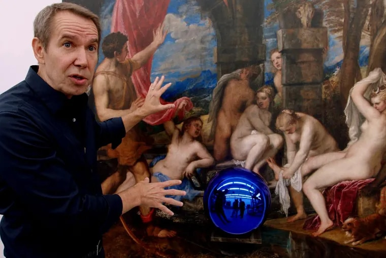 """Artist Jeff Koons in front of one of his """"Gazing Ball"""" paintings in The Price of Everything, directed by Nathaniel Kahn."""