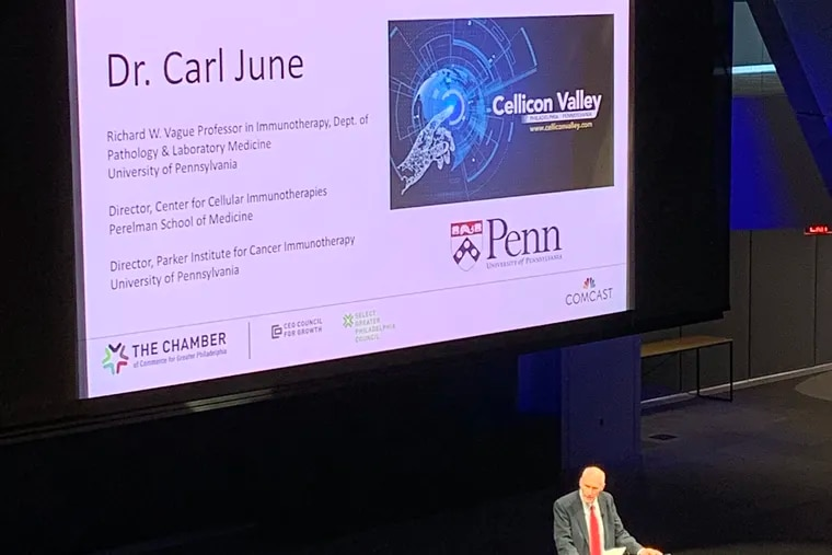 Carl June, oncologist and HIV cell therapy researcher of the University of Pennsylavania, addresses the BIO 2019 conference  on Monday, June 3, 2019.