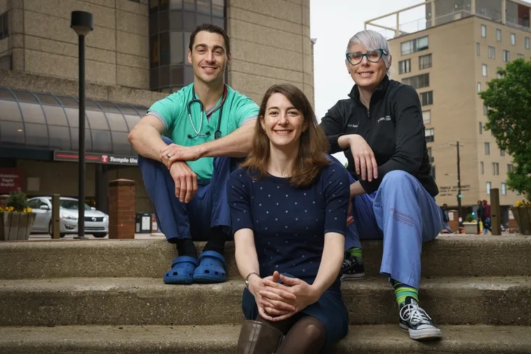 (Left to Right) Shane Coughlin, emergency medical resident, Molly Collins, palliative care doctor, Erin Narewski, pulmonologist, shown here at Temple Hospital in Philadelphia, May 6, 2019.