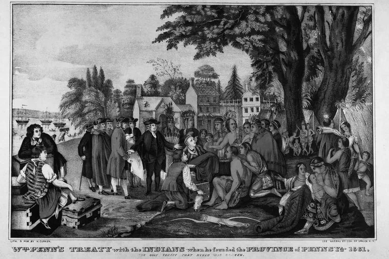 """""""William Penn's Treaty With the Indians When He Founded the Province of Pennsylvania, 1681,"""" lithograph after painting by Benjamin West. Historical Society of Pennsylvania"""